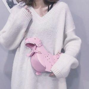 Dinosaur Purse Pink & Gold Hardware Crossbody Bag